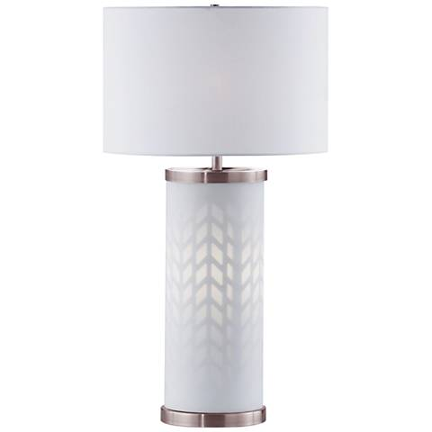 Nova Flora White Column Table Lamp with Night Light