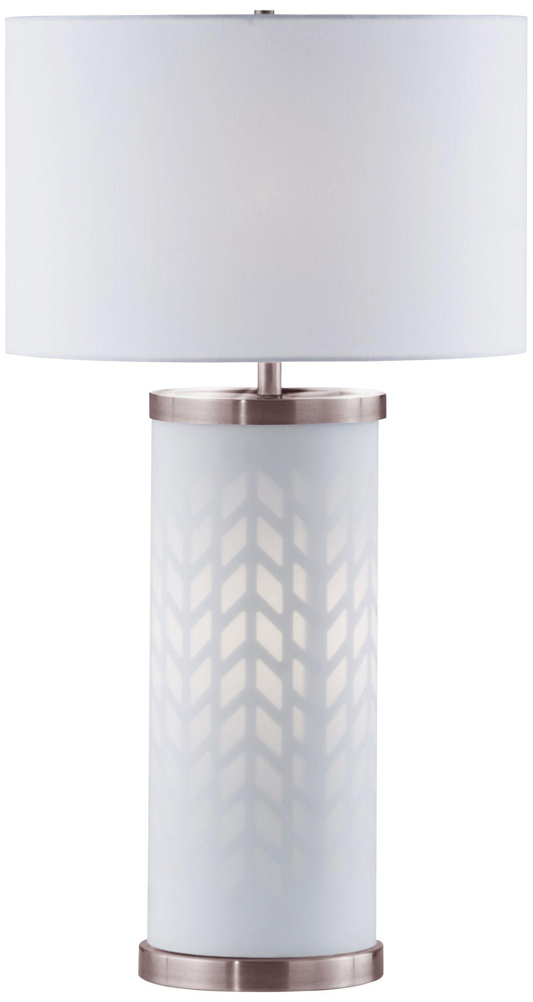 Nova Flora White Column Table Lamp With Night Light