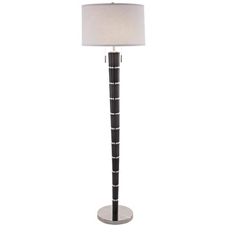 Nova Konico Ash Gray Tapered Steel Band Floor Lamp
