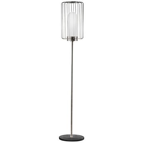 Nova Watson Antique Nickel Modern Steel Cage Floor Lamp