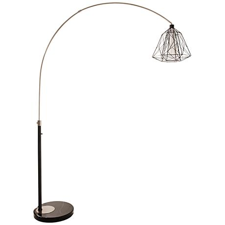 nova nest brushed nickel steel arc floor lamp 11j70 lamps plus. Black Bedroom Furniture Sets. Home Design Ideas