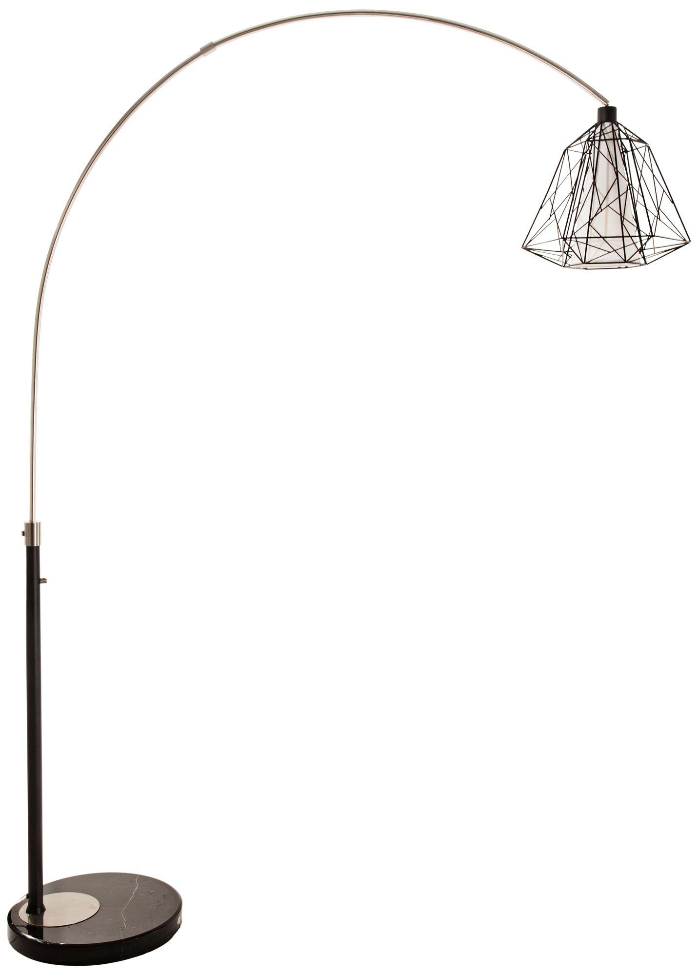 nova nest brushed nickel steel arc floor lamp - Arc Lamps