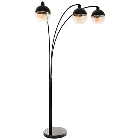 Nova Orson Matte Black 3-Light Steel Arc Floor Lamp