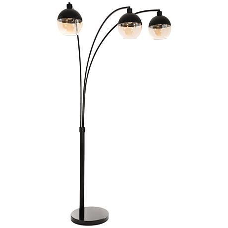 Nova Orson Matte Black 3 Light Steel Arc Floor Lamp