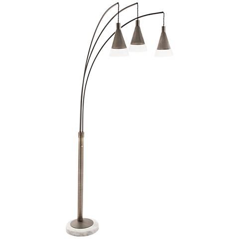 Nova Willow Antique Nickel Cone 3-Light Arc Floor Lamp