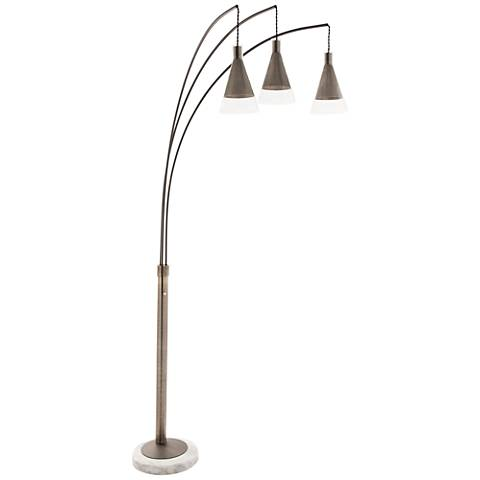 antique nickel cone 3 light arc floor lamp 11j78 lamps plus. Black Bedroom Furniture Sets. Home Design Ideas