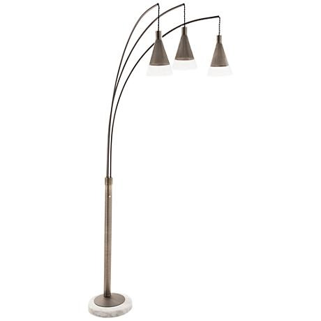 Nova Willow Antique Nickel Cone 3-Light Arc Floor Lamp