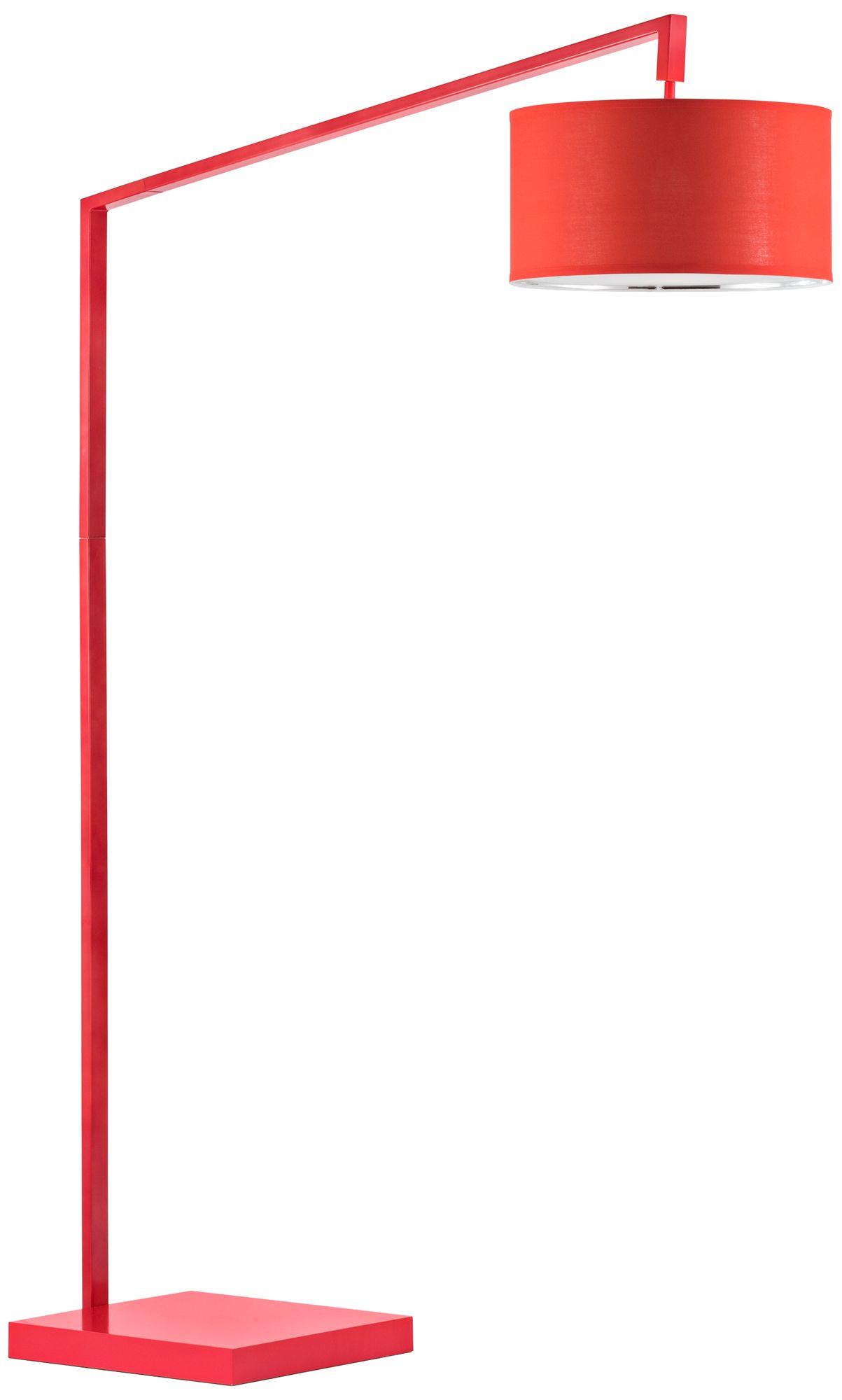 Nova Stretch Bright Red Chairside Steel Arc Floor Lamp