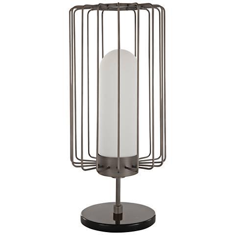 Nova Watson Antique Nickel Modern Cage Table Lamp