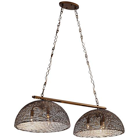 "Varaluz Flow 42"" Wide Hammered Ore 6-Light Island Pendant"