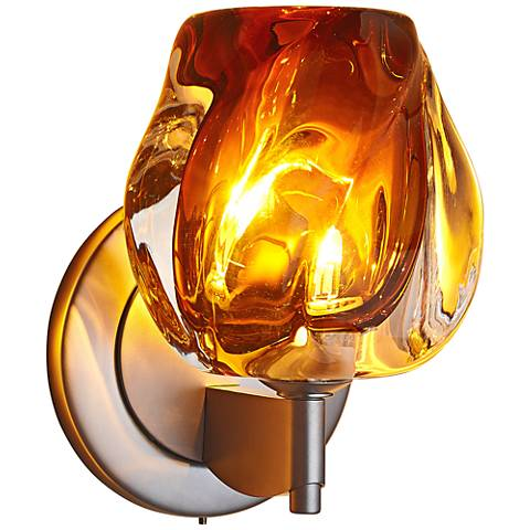 "Bruck Aurora 6 1/2""H Amber Glass LED Wall Sconce"