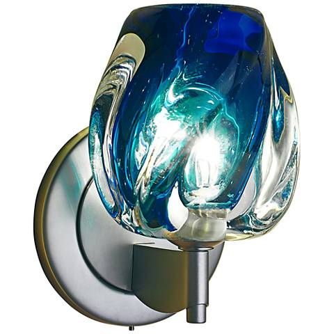 "Bruck Aurora 6 1/2""H Blue Glass LED Wall Sconce"
