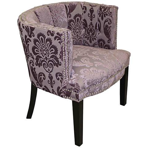 Bohemian Rich Black Plum Fan Damask Fabric Barrel Chair