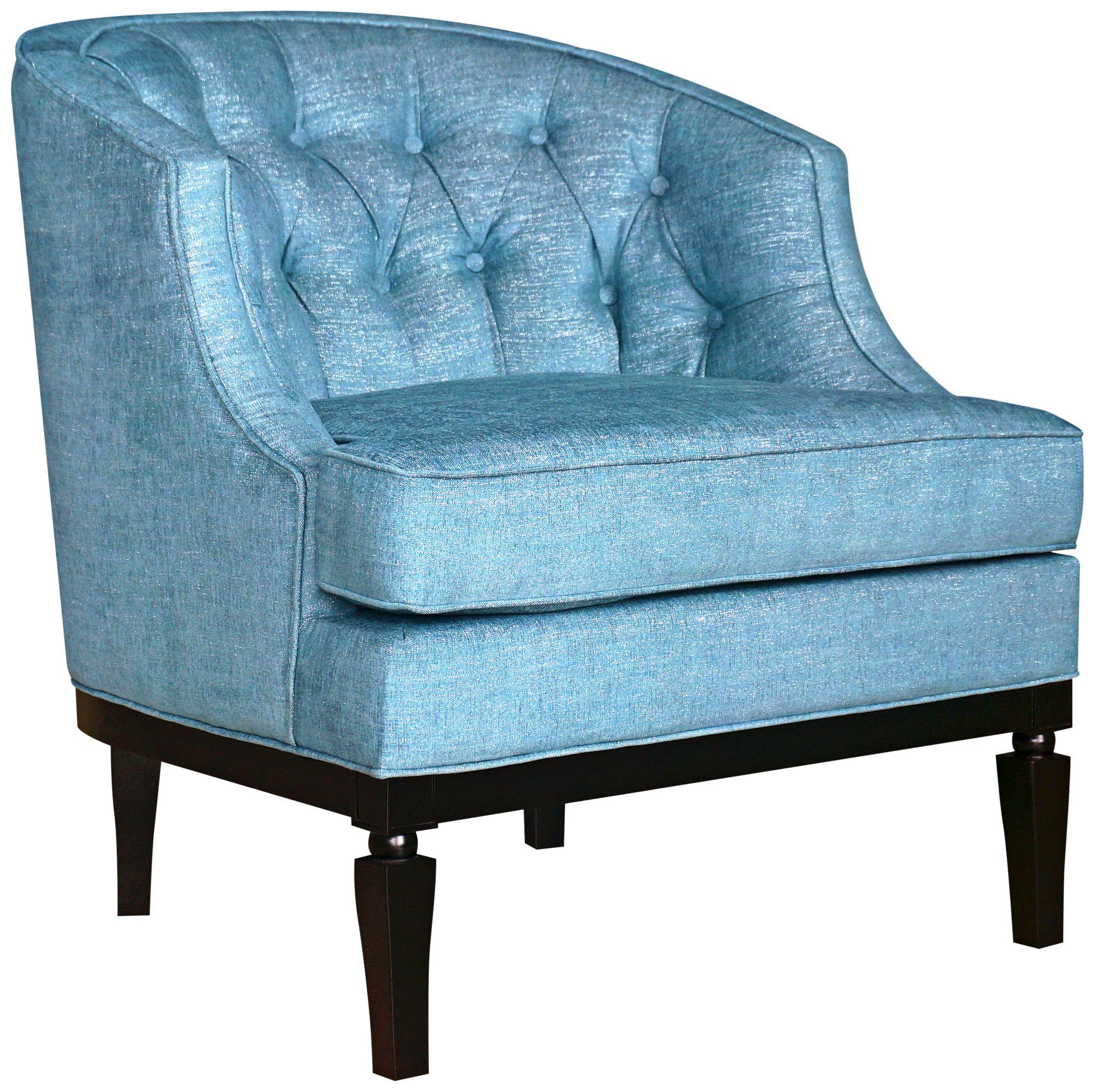 ashley sky blue gleam linen fabric accent chair