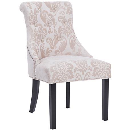Madison Cream Fan Damask Fabric Dining Chair