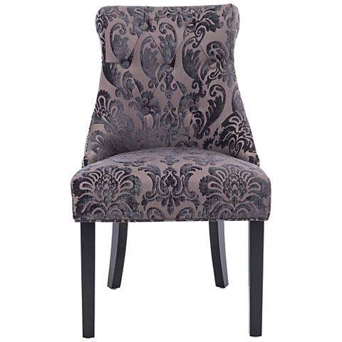 Madison Mink Fan Damask Fabric Dining Chair