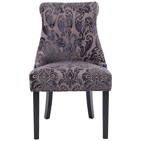 Madison Mink Fan Damask Fabric Dining Chair