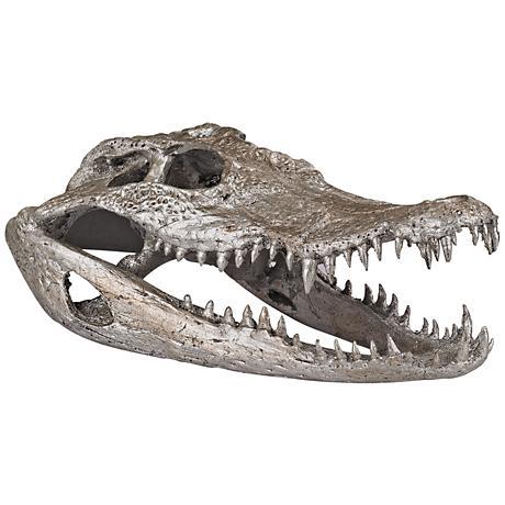 "Lago 9"" Wide Silver Leaf Crocodile Skull Figurine"