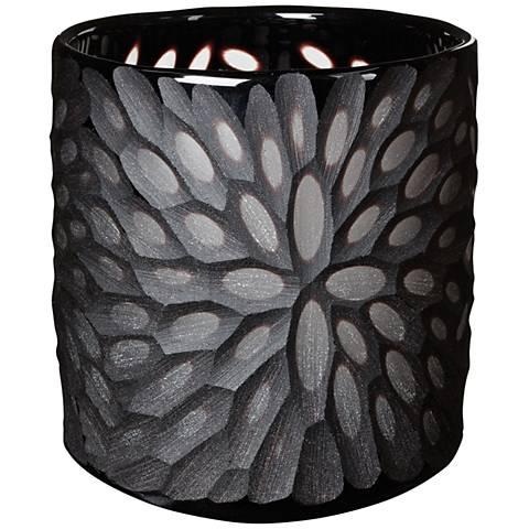 Jet Bouquet Cut Black Glass Votive Candle Holder