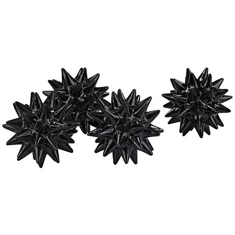 Onyx Gloss Black Spiked Orb Set of 4