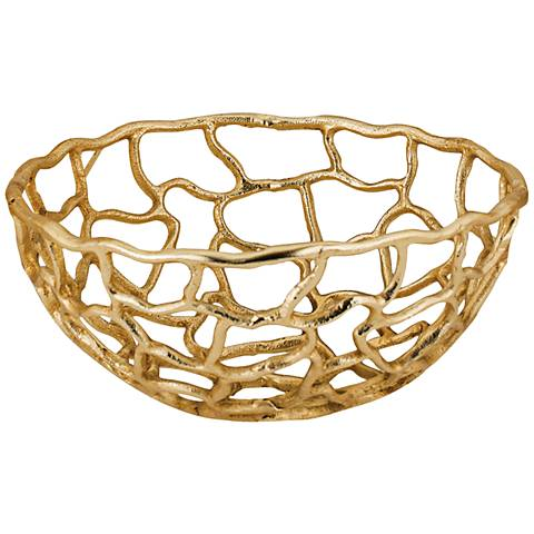 Corvallis Small Gold Metal Freeform Bowl
