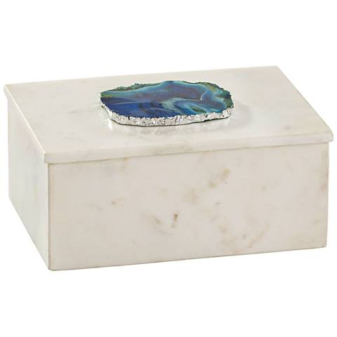 Antilles White Marble and Blue Agate Rectangular Box