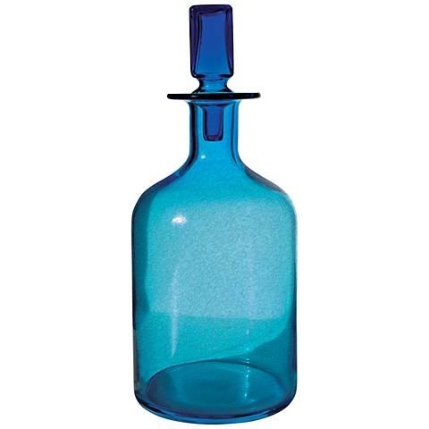 "Atlantis Large Pool Blue 16"" High Glass Decanter"
