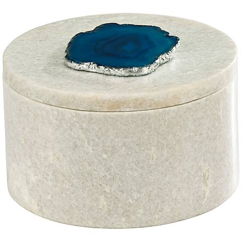 Antilles White Marble and Blue Agate Round Box
