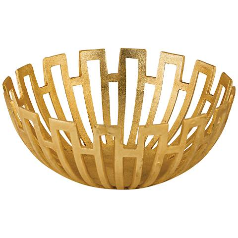 Meandros Gold Metal Greek Starburst Bowl