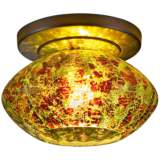 "Pandora 5 3/4""W Emerald Glass Bronze LED Ceiling Light"