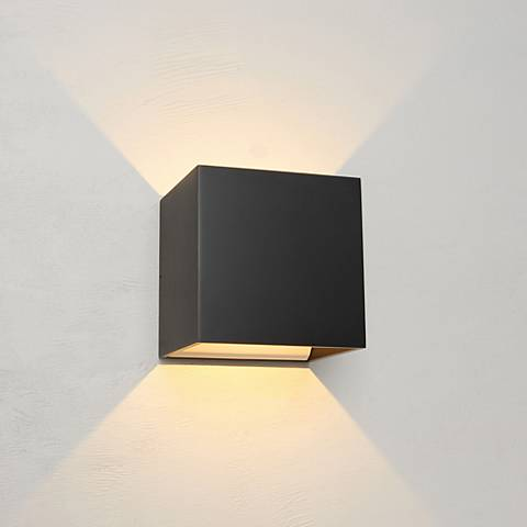 "Bruck QB 4 1/2""H Black LED Wall Sconce"