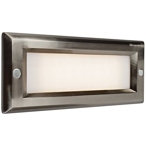 "Step 8 3/4""W Brushed Nickel Opal Lens Outdoor LED Step Light"