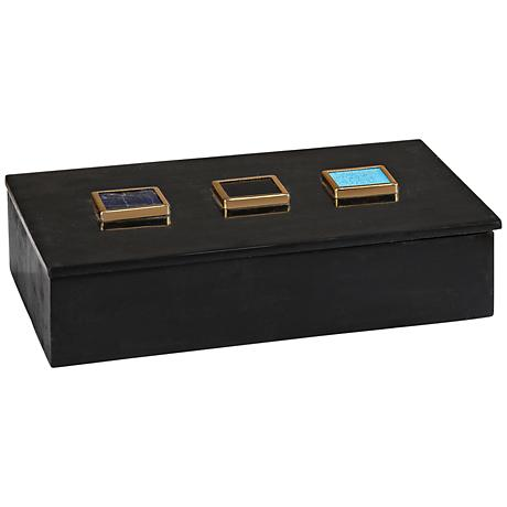 Antilles Black Marble and Mixed Agate Rectangular Box