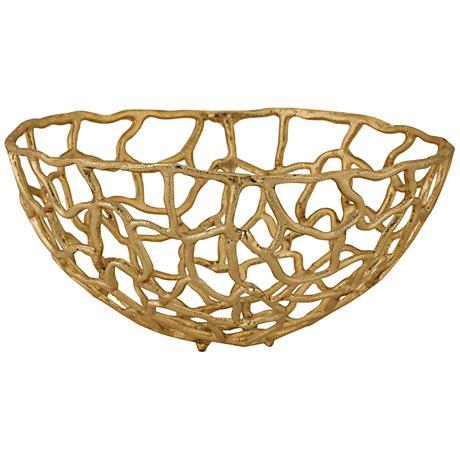 Corvallis Medium Gold Metal Freeform Bowl
