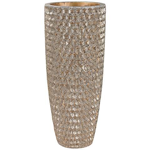 "Tetra Gold 41"" High Geometric Textured Vase"