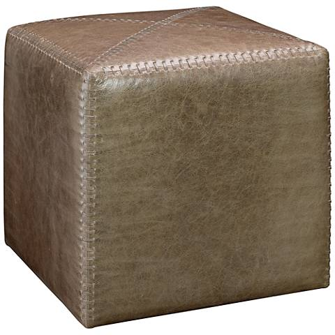 Jamie Young Leah Taupe Leather Small Ottoman