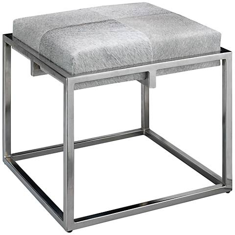 "Jamie Young Shelby 18"" Gray Hide and Nickel Accent Stool"