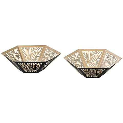 Alke Gold and Black Metal 2-Piece Bowl Set