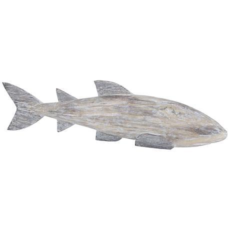 "Cocos Island 38""W White Wash Wooden Whale Figurine"