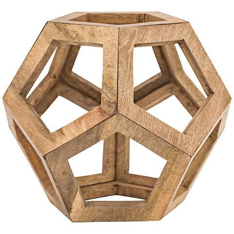 """Highland 15"""" High Mango Wooden Honeycomb Orb Sculpture"""