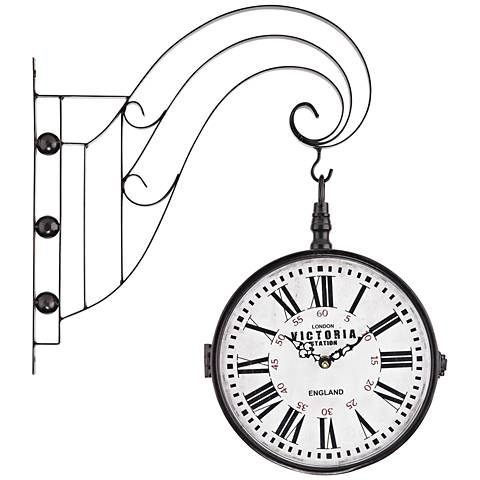 "Victoria 19""H Bronze Double Sided Iron Scroll Wall Clock"