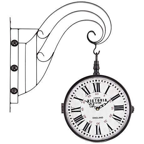 """Victoria 19""""H Bronze Double Sided Iron Scroll Wall Clock"""