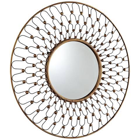 "Cyan Design Cordova Gold 36"" Round Wall Mirror"