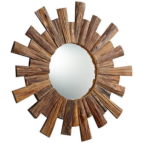 "Wheelhouse Reflection Pecan Sunburst 36"" Round Wall Mirror"