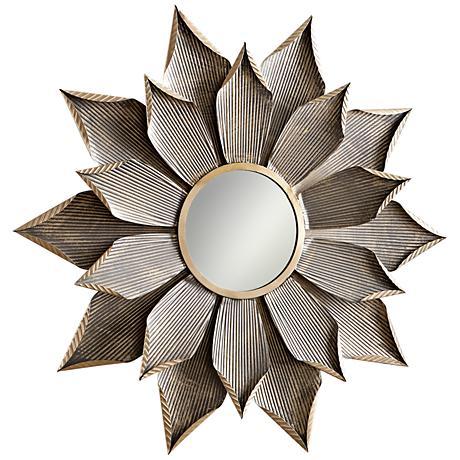 """Cyan Design Blossom Graphite 50 1/4"""" Round Wall Mirror"""