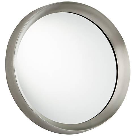 "Glossy Boss Matte Nickel 16 3/4"" Round Wall Mirror"