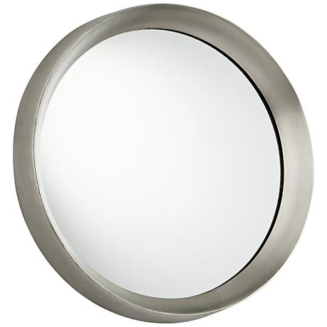 "Glossy Boss Matte Nickel 16 3/4"" Round Wall Mirror"