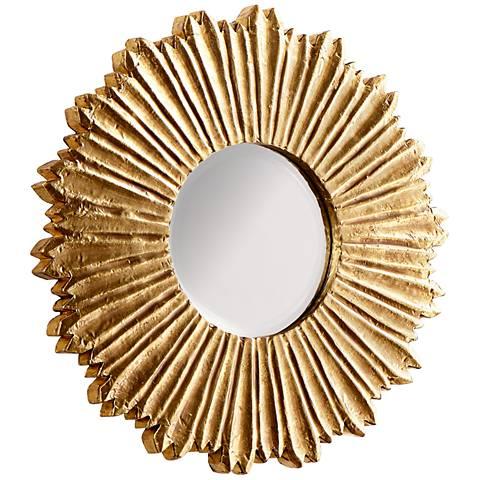"""Cyan Design Starburst Brass 11 3/4"""" Round Wall Mirror"""