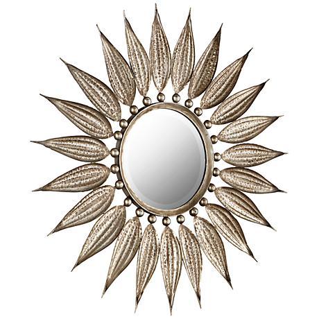 """Sunflower Reflections Bronze 32 1/2"""" Round Wall Mirror"""