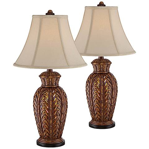 Maroa Wicker Night Light Table Lamp Set of 2